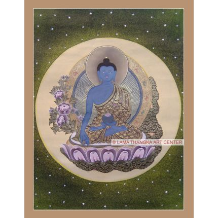 "18"" x 14"" Medicine Buddha Thangka"