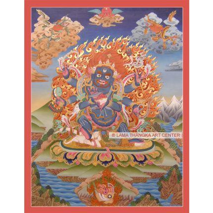 "25.5"" x 20"" Black Mahakala Thangka Painting"