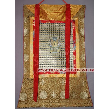 "37"" x 26.5"" 108 Buddhas Thangka Painting"