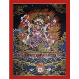 "28"" x 21.5"" Black Mahakala Thangka Painting"