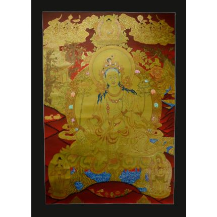 "Traditional Green Tara Thanka Painting - 29""x20.75"""