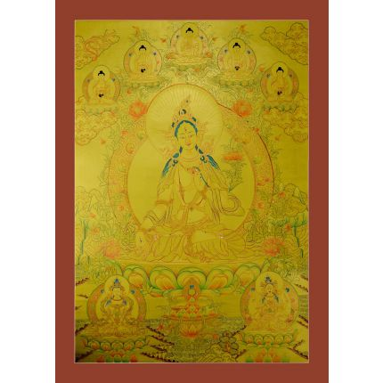 "Gold White Tara Thangka Painting -31""x24"""