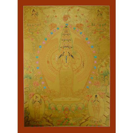 """Gold Avalokiteshvara Thankga Painting - 33.75""""x24.75"""""""