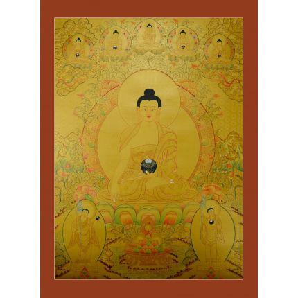 """33.5""""x25""""  Gold Shakyamuni Buddha Thangka Painting"""