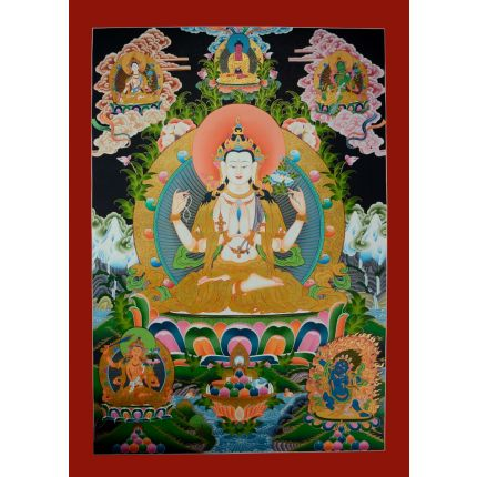 "Chenrezig Thanka Painting  - 33.75""x 24.5"""