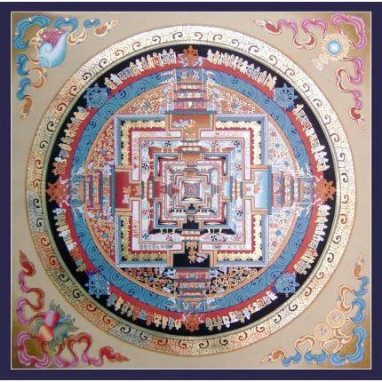 """14"""" x 14"""" Kalchakra Mandala Thangka"""