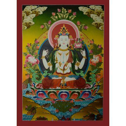 """30.25""""x21.75"""" Chenrezig Thangka Painting"""