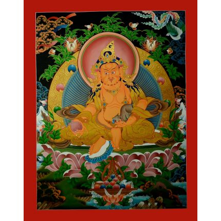 "31.5""x 24"" Yellow Jambhala Thangka Painting"