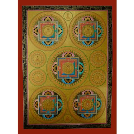 "Manjushri Mandala Thangka Painting - 32.75""x24.25"""