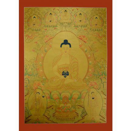 "Gold Amitabha Buddha Thangka Painting -  33.5""x24"""