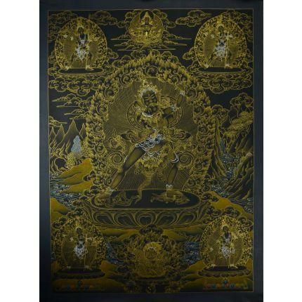 "32.5""X24.5"" Black and Gold Kalachakra with Consort Thankga Painting"