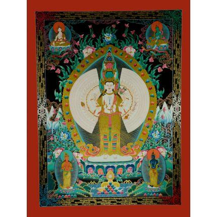 """47""""x 36"""" 1000 Armed Avalokiteshvara Thankga Painting"""