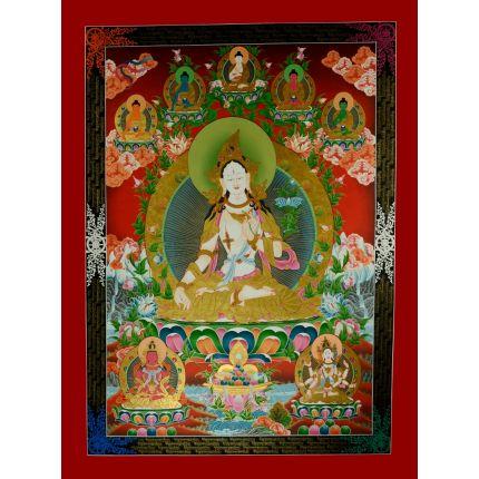 "48.5""x36"" White Tara Thangka Painting"