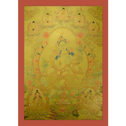 """Tibetan Gold Green Tara Thangka Painting -32.5""""x23.75"""""""