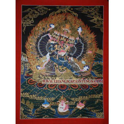 """29.5"""" x 22.5"""" Yamantaka Thangka Painting"""
